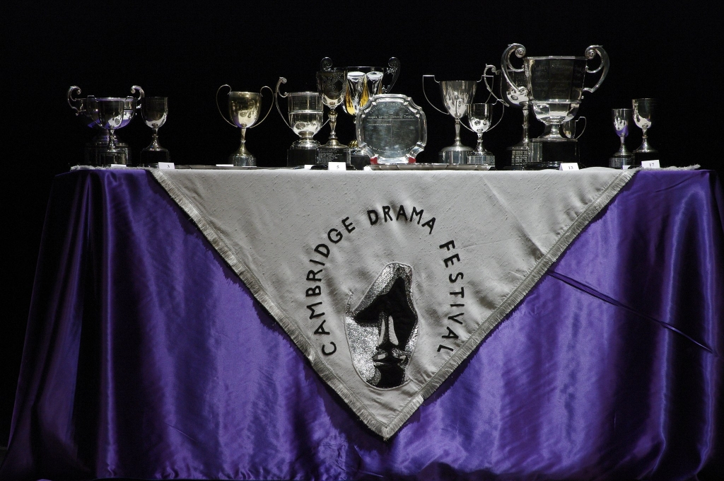 Trophies on a table